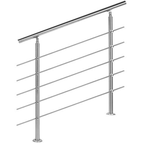 Handrail Stainless Steel 5 Cross Bars 100cm Balustrade Stair Staircase Rail
