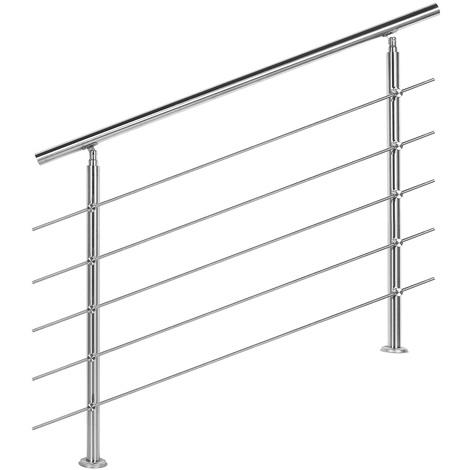 Handrail Stainless Steel 5 Cross Bars 120cm Balustrade Stair Staircase Rail