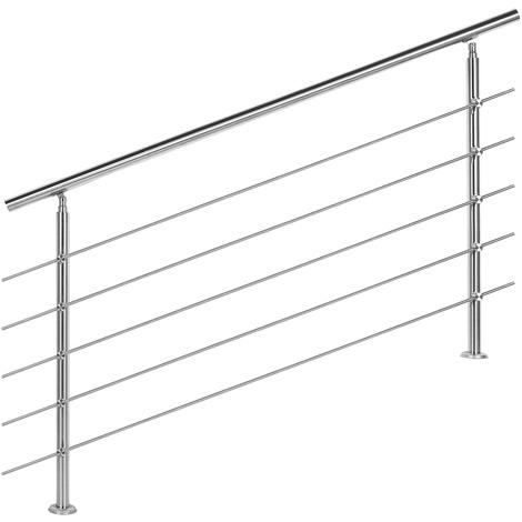 Handrail Stainless Steel 5 Cross Bars 160cm Balustrade Stair Staircase Rail