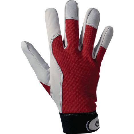 Handschuh EN388 Kat.II Gr. 8 Ziegennappa Handrücken rot Klettverschluss a.Karte