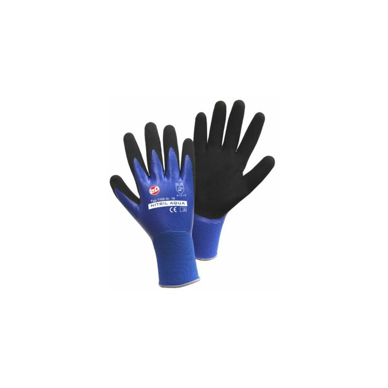 Image of Certeo - Handschuhe NITRIL AQUA, blau / schwarz, VE 12 Paar, Größe 9 Schutz Handschuhe