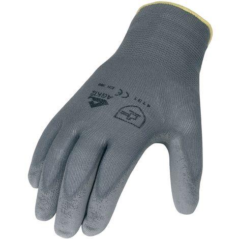 Handschuhe PU Gr.10 grau Nylon Feinstrick m.Strickbund