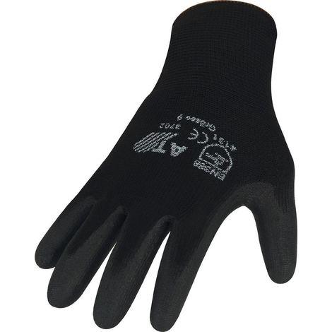 Handschuhe PU Gr.10 schwarz Nylon Feinstrick m.Strickbund