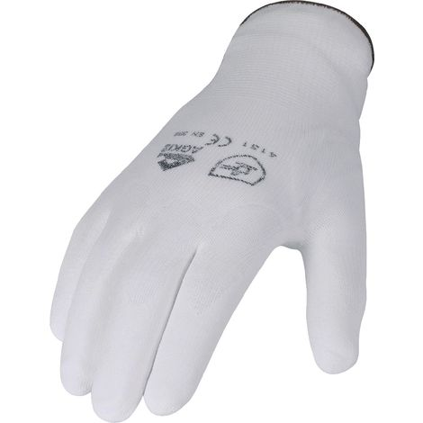 Handschuhe PU Gr.10 weiß teilbesch. Nylon Feinstrick m.Strickbund