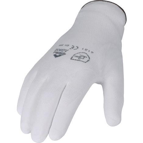 Handschuhe PU Gr.9 weiß teilbesch. Nylon Feinstrick m.Strickbund