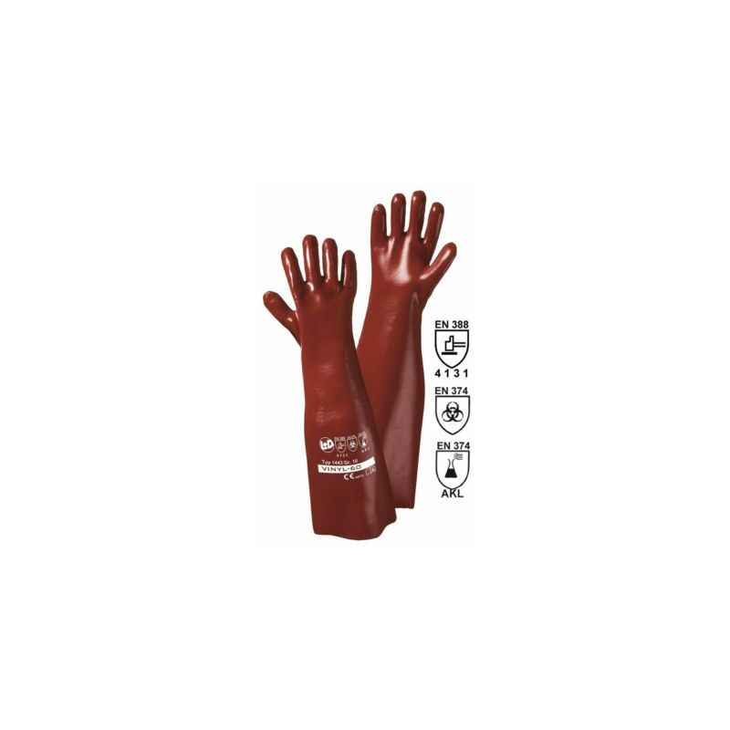 Image of Certeo - Handschuhe VINYL-27, rotbraun, VE 12 Paar, Länge 60 cm Handschuhe Schutz