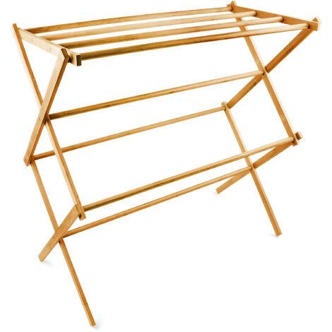 Handtuchhalter Bambus faltbar HBT 73 x 74 x 36 cm klappbarer Handtuchständer aus Holz mit 8 Handtuchstangen als platzsparender Wäscheständer, Herrendiener oder Handtuchtrockner, natur