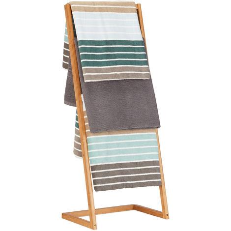 Handtuchhalter freistehend, Leiterregal mit 4 Handtuchstangen, Handtuchständer Bambus, HBT: 100x40x30cm, natur