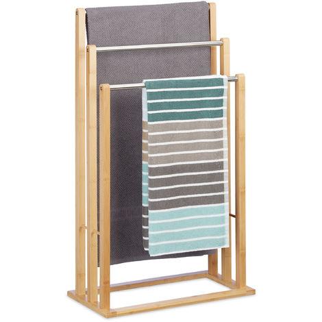 Handtuchhalter stehend mit 3 Handtuchstangen, Handtuchständer 3-armig für Bad, Bambus, HBT: 84x48x26 cm, natur