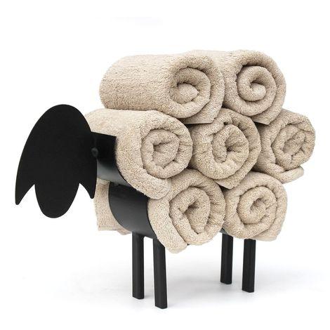 Handtuchhalter Stehend Schwarz Schaf Handtuchregal Gäste Bad Gästehandtuchhalter