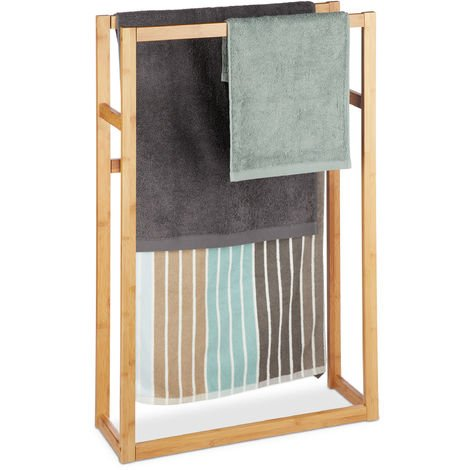 Handtuchständer Bambus, Standhandtuchhalter, Badetuchständer, stehend, H x B x T: ca. 90 x 60 x 20 cm, natur