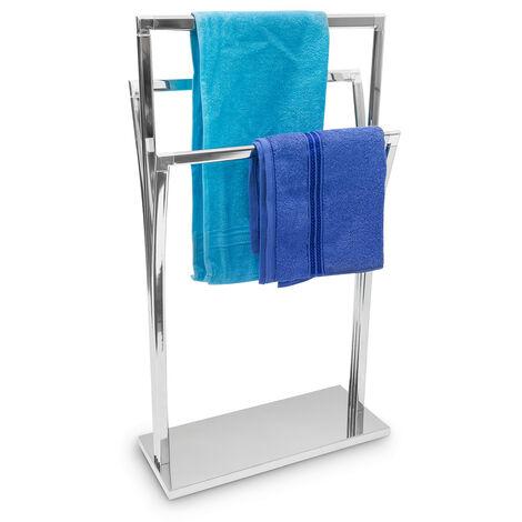 Handtuchständer geschwungen H x B x T: ca. 86 x 50 x 20 cm freistehender Handtuchhalter in Edelstahl-Optik mit 3 Handtuchstangen als Badehandtuchhalter und kleiner Kleiderbutler, silber
