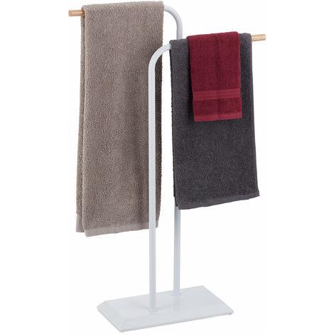 Handtuchständer zweiarmig, Handtuchstangen, Doppel Handtuchhalter, Stahl, Holz, HxBxT 90 x 56 x 20 cm, weiß