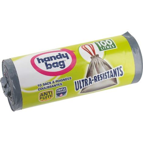 Sac poubelle poignée coulissante Handy bag - 100 l - Hauteur 90 cm - Rouleau 10 sacs