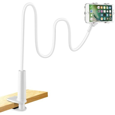 Handyhalter, Handy Halterung Schwanenhals Halter Universal Ständer für iPhone Samsung Huawei Smartphone Handy Tablet 360° Drehen (Weiß)