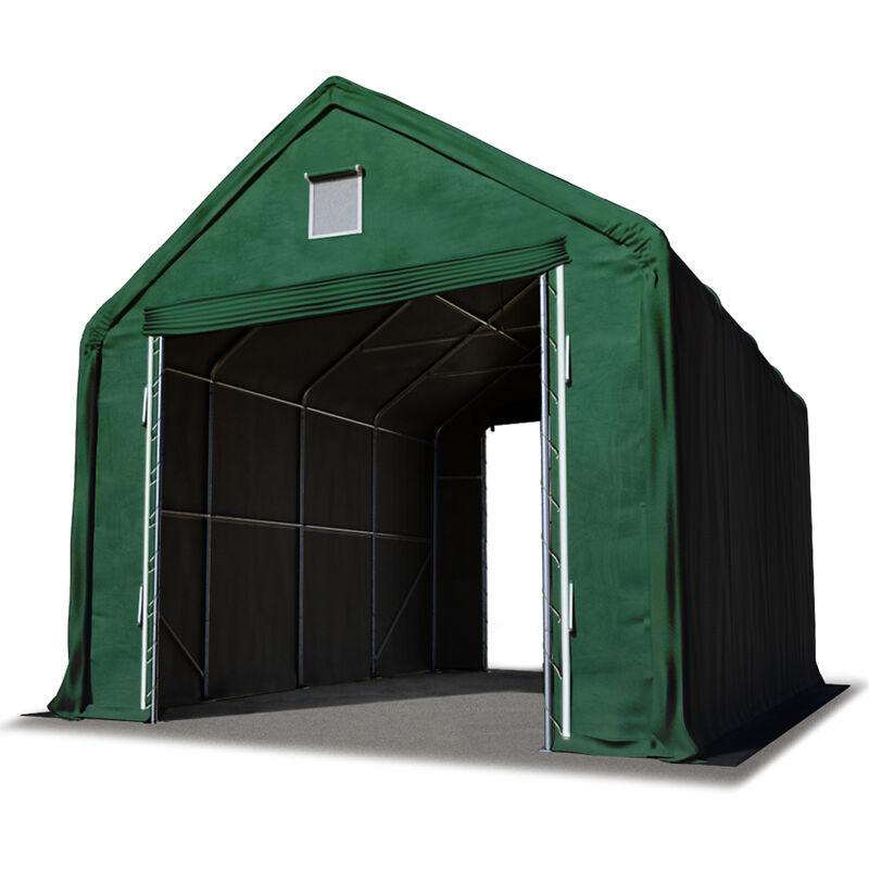 Intent24.fr - Hall hangar de stockage 4 x 8 m / hauteur de côté 3m tente industrielle avec bâche PVC ignifugé env. 720g/m² vert fonce