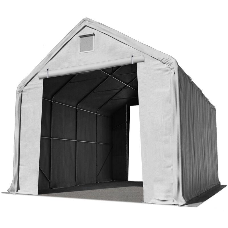 Intent24.fr - Hall hangar de stockage 5 x 8 m / hauteur de côté 3m tente industrielle avec bâche PVC ignifugé env. 720g/m² gris