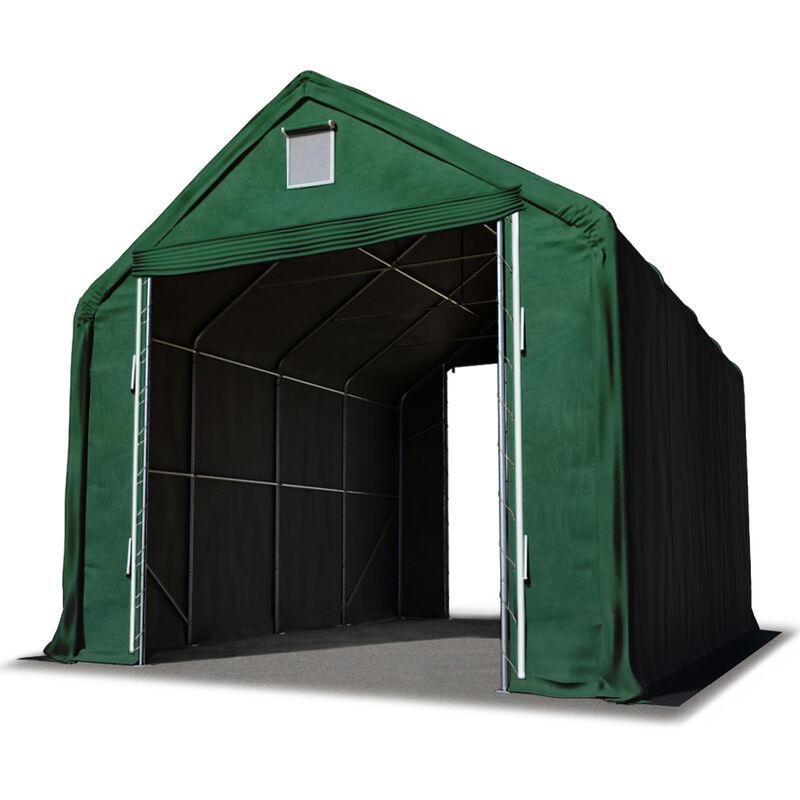 Intent24.fr - Hall hangar de stockage 5 x 8 m / hauteur de côté 3m tente industrielle avec bâche PVC ignifugé env. 720g/m² vert fonce
