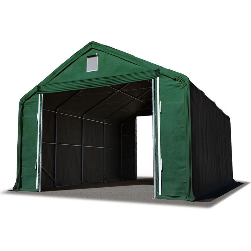Intent24.fr - Hall hangar de stockage 6 x 12 m / hauteur de côté 3m tente industrielle avec bâche PVC ignifugé env. 720g/m² vert fonce