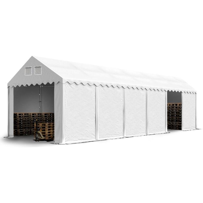 Intent24.fr - Hangar tente de stockage 3 x 12 m d'élevage de 2,60m de hauteur blanc épaisses d'env. 500g/m² PVC imperméables