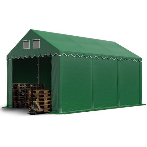 Hangar tente de stockage 3 x 6 m d'élevage de 2,60m de hauteur vert fonce épaisses d'env. 500g/m² PVC imperméables