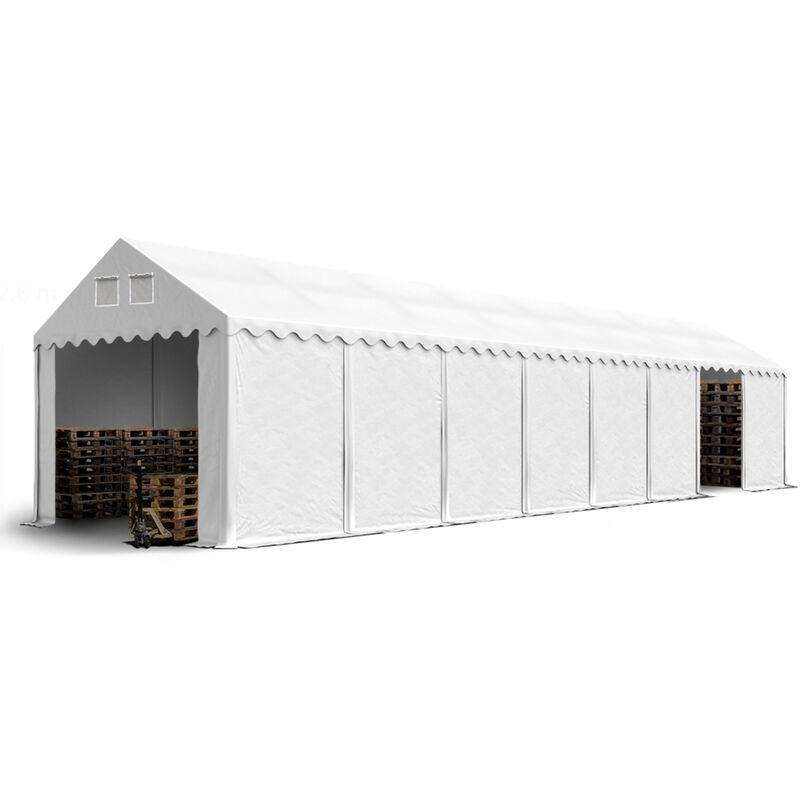 Intent24.fr - Hangar tente de stockage 4 x 16 m d'élevage de 2,60m de hauteur blanc épaisses d'env. 500g/m² PVC imperméables