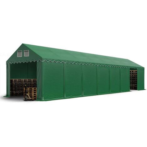 Hangar tente de stockage 4 x 16 m d'élevage de 2,60m de hauteur vert fonce épaisses d'env. 500g/m² PVC imperméables