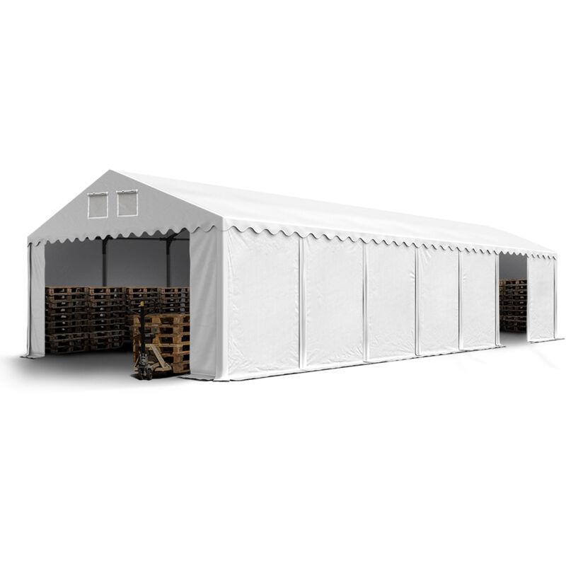 Intent24.fr - Hangar tente de stockage 5 x 14 m d'élevage de 2,60m de hauteur blanc épaisses d'env. 500g/m² PVC imperméables