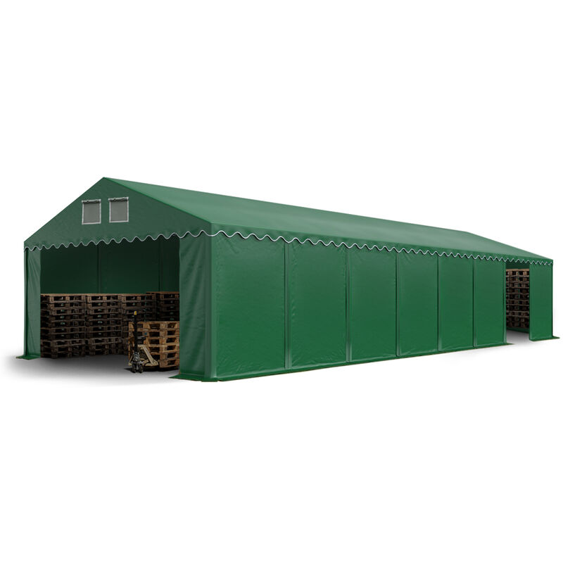 Intent24.fr - Hangar tente de stockage 5 x 16 m d'élevage de 2,60m de hauteur vert fonce épaisses d'env. 500g/m² PVC imperméables