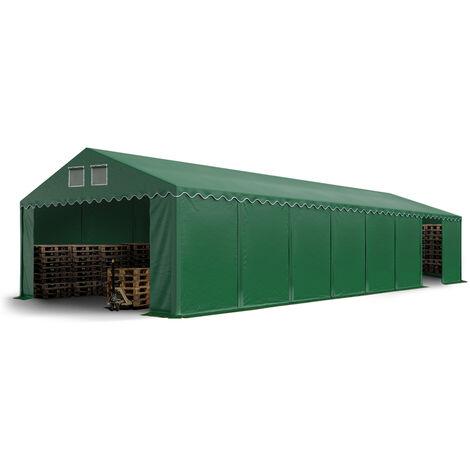 Hangar tente de stockage 6 x 16 m d'élevage de 2,60m de hauteur vert fonce épaisses de 500g/m² PVC imperméables