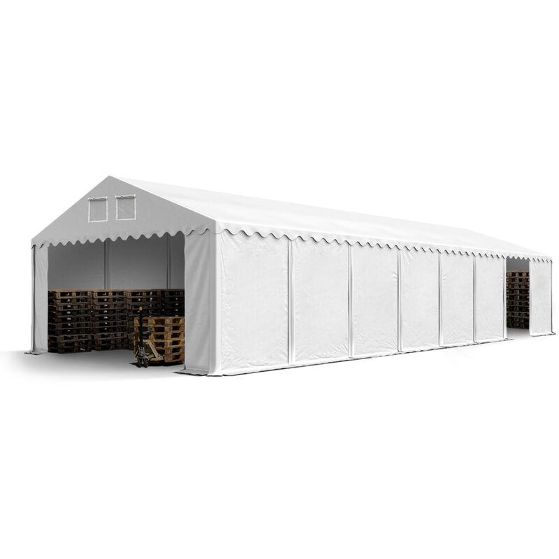 Intent24.fr - Hangar tente de stockage 6 x 16 m ignifuge d'élevage de 2,60m de hauteur blanc épaisses d'env. 500g/m² PVC imperméables