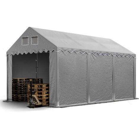 Hangar / Tente de stockage PROFESSIONAL 4 x 6 m gris env. 550g/m² PVC hauteur 2,60 m