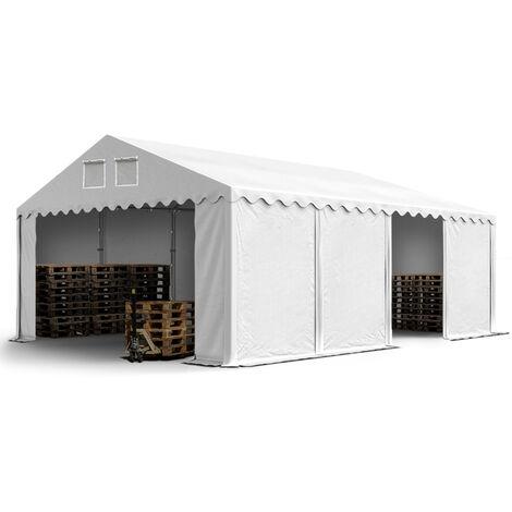 Hangar / Tente de stockage PROFESSIONAL 6 x 8 m blanc env. 550g/m² PVC anti-feu hauteur 2,60 m