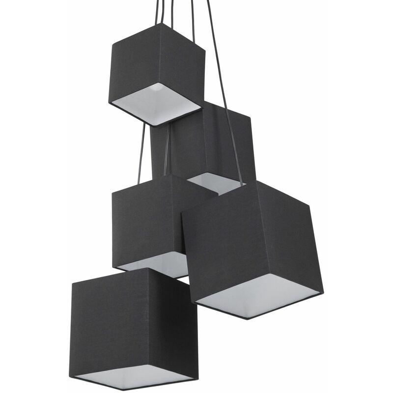 Hängeleuchte Schwarz Metall 5-flammig mit Stoffschirm quadratisch Retro Stil - BELIANI