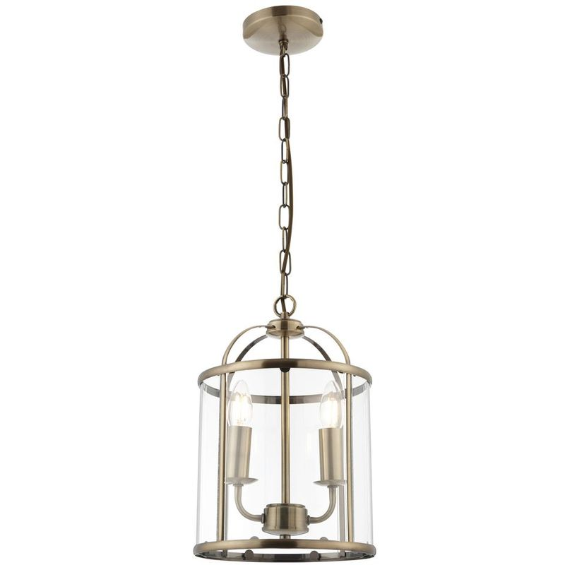 Image of 09-075 Tate Hanging 2 light Hall Ceiling Lantern in Antique Brass with Glass Panels - LIGHTS4LIVING