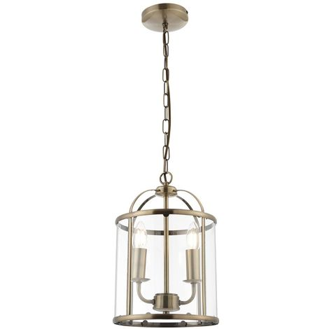 Hanging 2 light Hall Ceiling Lantern in Antique Brass with Glass Panels