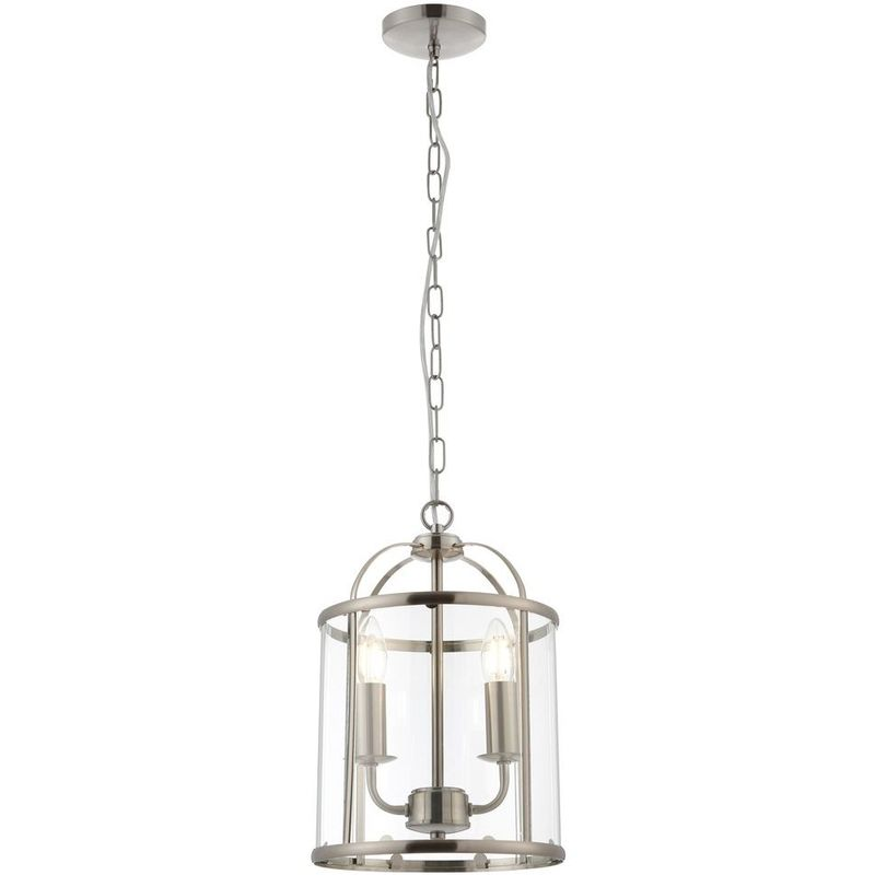 Image of 09-076 Tate Hanging 2 light Hall Ceiling Lantern in Satin Nickel Finish with Glass Panels - LIGHTS4LIVING