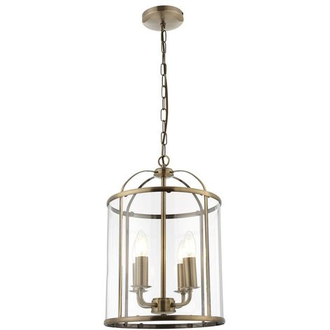 Hanging 4 light Hall Ceiling Lantern in Antique Brass with Glass Panels