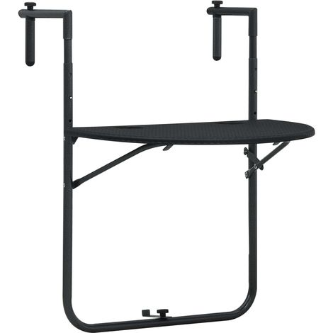 Hanging Balcony Table Black 60x64x83.5 cm Plastic Rattan Look