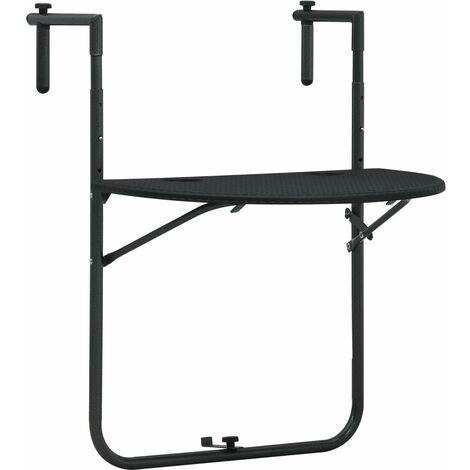 Hanging Balcony Table Black 60x64x83.5 cm Plastic Rattan Look - Black