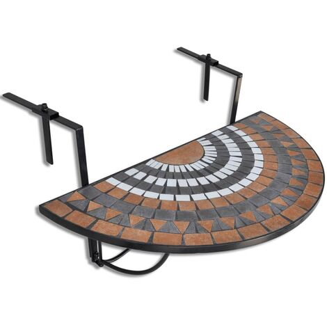 Hanging Balcony Table Terracotta and White Mosaic - Brown