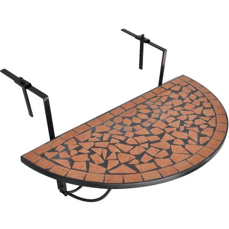 Hanging Balcony Table Terracotta Mosaic - Brown