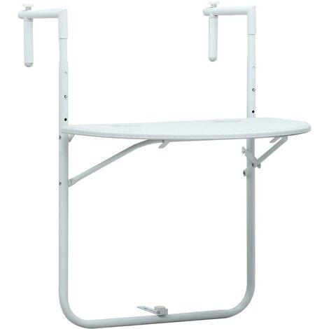 Hanging Balcony Table White 60x64x83.5 cm Plastic Rattan Look - White