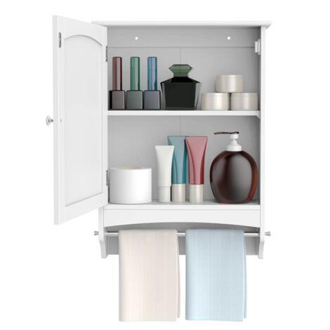 Hanging Bathroom Cabinet Wall Storage Cabinet with Rod and Adjustable Shelf & Single Door, White