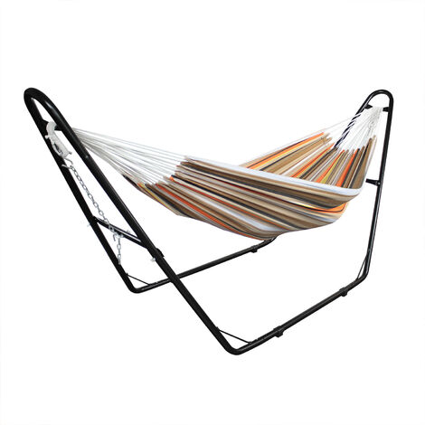 Hanging Bed , Hammock, Beige/Brown/Orange, with Stand H-Type, Brazilian, Cotton, Capacity: For 2 people