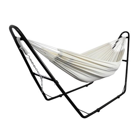 Hanging Bed , Hammock, Beige, with Stand H-Type, Brazilian, Cotton, Capacity: For 2 people