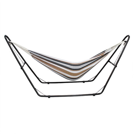 Hanging Bed , Hammock, Brown, Brazilian, with Stand H-Type, Cotton, Capacity: For 2 people