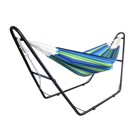Hanging Bed , Hammock, Green/Blue, Brazilian, with Stand H-Type, Cotton, Capacity: For 2 people