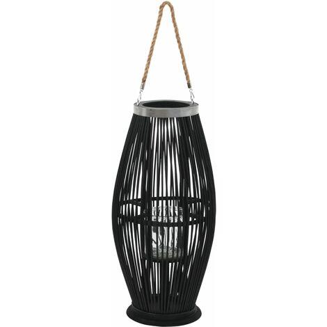 Hanging Candle Lantern Holder Bamboo Black 60 cm