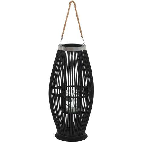 Hanging Candle Lantern Holder Bamboo Black 60 cm - Black